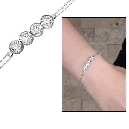 Tesbihane - Zirkon Taşlı 925 Ayar Gümüş Bayan Dörttaş Bileklik