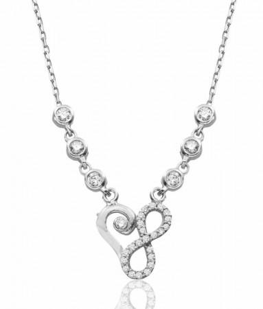 - Zirkon Taşlı 925 Ayar Gümüş Su Yolu Sonsuzluk Kalp Kolye