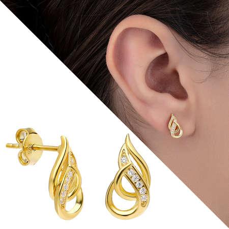 Tesbihane - Zirkon Taşlı Alev Tasarım Gold Renk 925 Ayar Gümüş Küpe