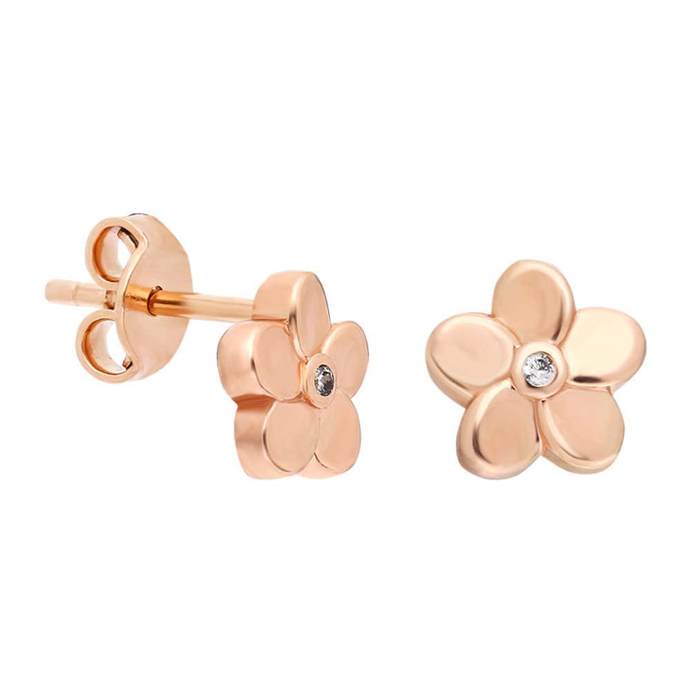 Zirkon Taşlı Çiçek Tasarım Roz Renk 925 Ayar Gümüş Küpe
