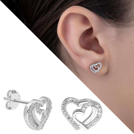 Tesbihane - Zirkon Taşlı Çift Kalp Tasarım 925 Ayar Gümüş Küpe