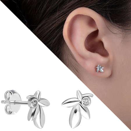 Tesbihane - Zirkon Taşlı Çınar Yaprağı Tasarım 925 Ayar Gümüş Küpe