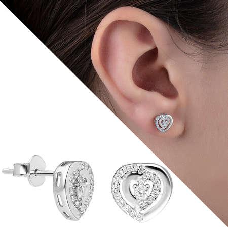 Tesbihane - Zirkon Taşlı İçiçe Kalp Tasarım 925 Ayar Gümüş Küpe
