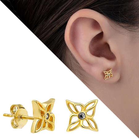 Tesbihane - Zirkon Taşlı Ixora Çiçeği Tasarım Gold Renk 925 Ayar Gümüş Küpe