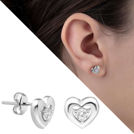 Tesbihane - Zirkon Taşlı Kalp Tasarım 925 Ayar Gümüş Küpe