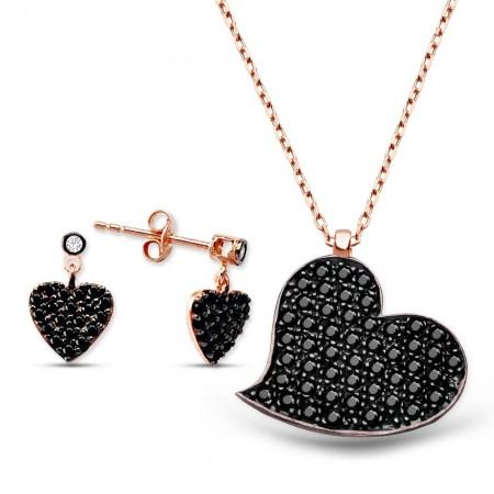 - Zirkon Taşlı Kalp Tasarım Gümüş Küpe Kolye Kombini