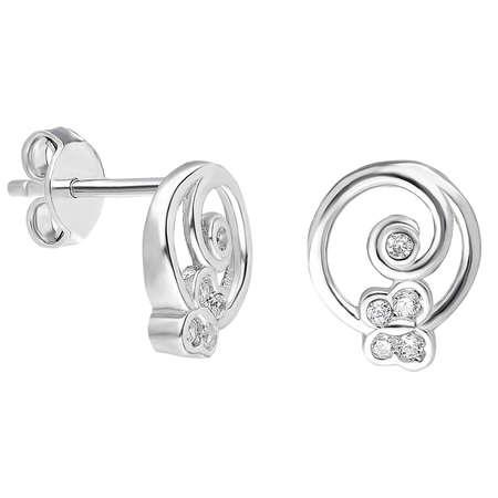 Zirkon Taşlı Kelebek Tasarım 925 Ayar Gümüş Küpe - Thumbnail