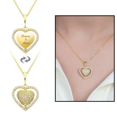 Tesbihane - Zirkon Taşlı Kişiye Özel İsim Yazılı Gold Renk 925 Ayar Gümüş Kalp Kolye