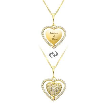 Zirkon Taşlı Kişiye Özel İsim Yazılı Gold Renk 925 Ayar Gümüş Kalp Kolye - Thumbnail