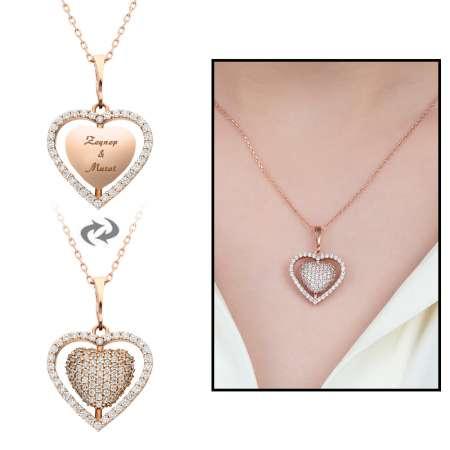 Tesbihane - Zirkon Taşlı Kişiye Özel İsim Yazılı Rose Renk 925 Ayar Gümüş Kalp Kolye