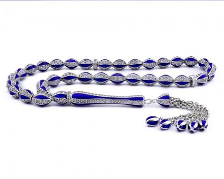 Tesbihane - Zirkon Taşlı Mavi Mineli Gümüş Tesbih