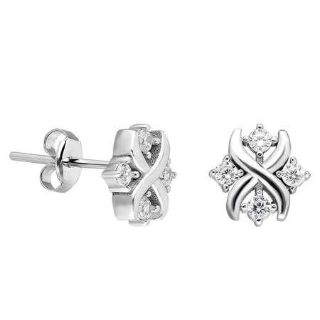 Zirkon Taşlı Modern Tasarım 925 Ayar Gümüş Küpe - Thumbnail