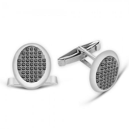 Tesbihane - Zirkon Taşlı Oval Tasarım 925 Ayar Gümüş Kol Düğmesi