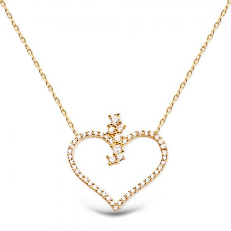 - Zirkon Taşlı Rose Kaplı 925 Ayar Gümüş Kalp Kolye