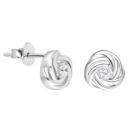 Zirkon Taşlı Sarmal Tasarım 925 Ayar Gümüş Tektaş Küpe - Thumbnail