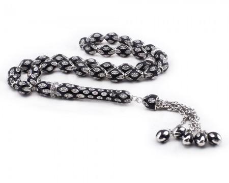 Tesbihane - Zirkon Taşlı Siyah Mineli 925 Ayar Gümüş Tesbih