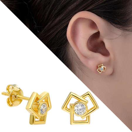 Tesbihane - Zirkon Taşlı Üçlü Kare Tasarım Gold Renk 925 Ayar Gümüş Küpe