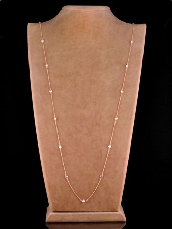 Zirkon Taşlı Uzun Tiffany Kolye - Thumbnail