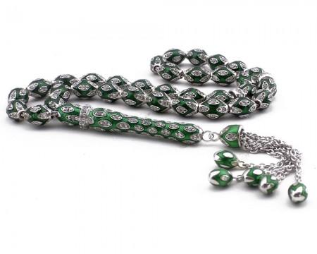 Tesbihane - Zirkon Taşlı Yeşil Mineli 925 Ayar Gümüş Tesbih