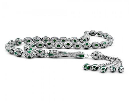 Tesbihane - Zirkon Taşlı Yeşil Mineli Gümüş Tesbih