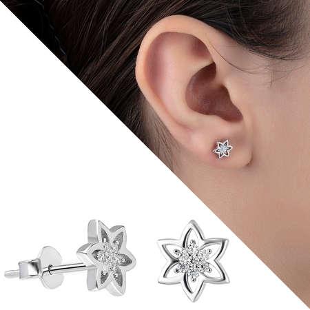 Tesbihane - Zirkon Taşlı Yıldız Tasarım 925 Ayar Gümüş Küpe