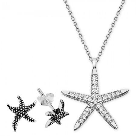 - Zirkon Taşlı Yıldız Tasarım Gümüş Kolye ve Küpe Kombini