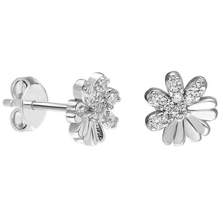 Zirkon Taşlı Zarif Tasarım 925 Ayar Gümüş Küpe - Thumbnail