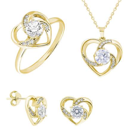 Tesbihane - Zirkon Tektaşlı Kalp Tasarım Gold Renk 925 Ayar Gümüş 3'lü Takı Seti