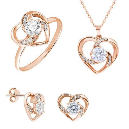 Tesbihane - Zirkon Tektaşlı Kalp Tasarım Rose Renk 925 Ayar Gümüş 3'lü Takı Seti