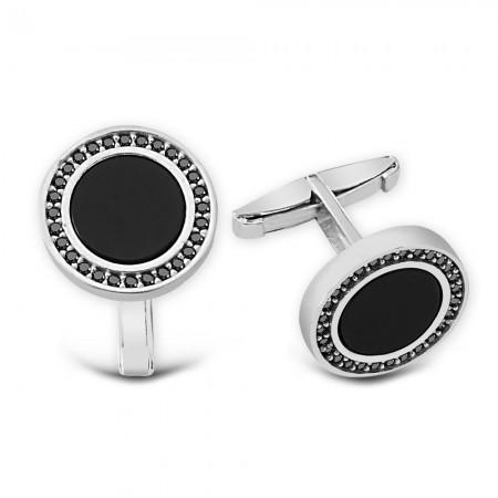 - Zirkon ve Oniks Taşlı 925 Ayar Gümüş Kol Düğmesi