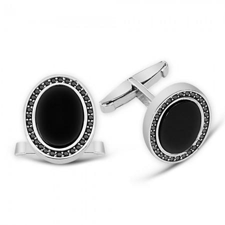 - Zirkon ve Oniks Taşlı Oval Tasarım 925 Ayar Gümüş Kol Düğmesi